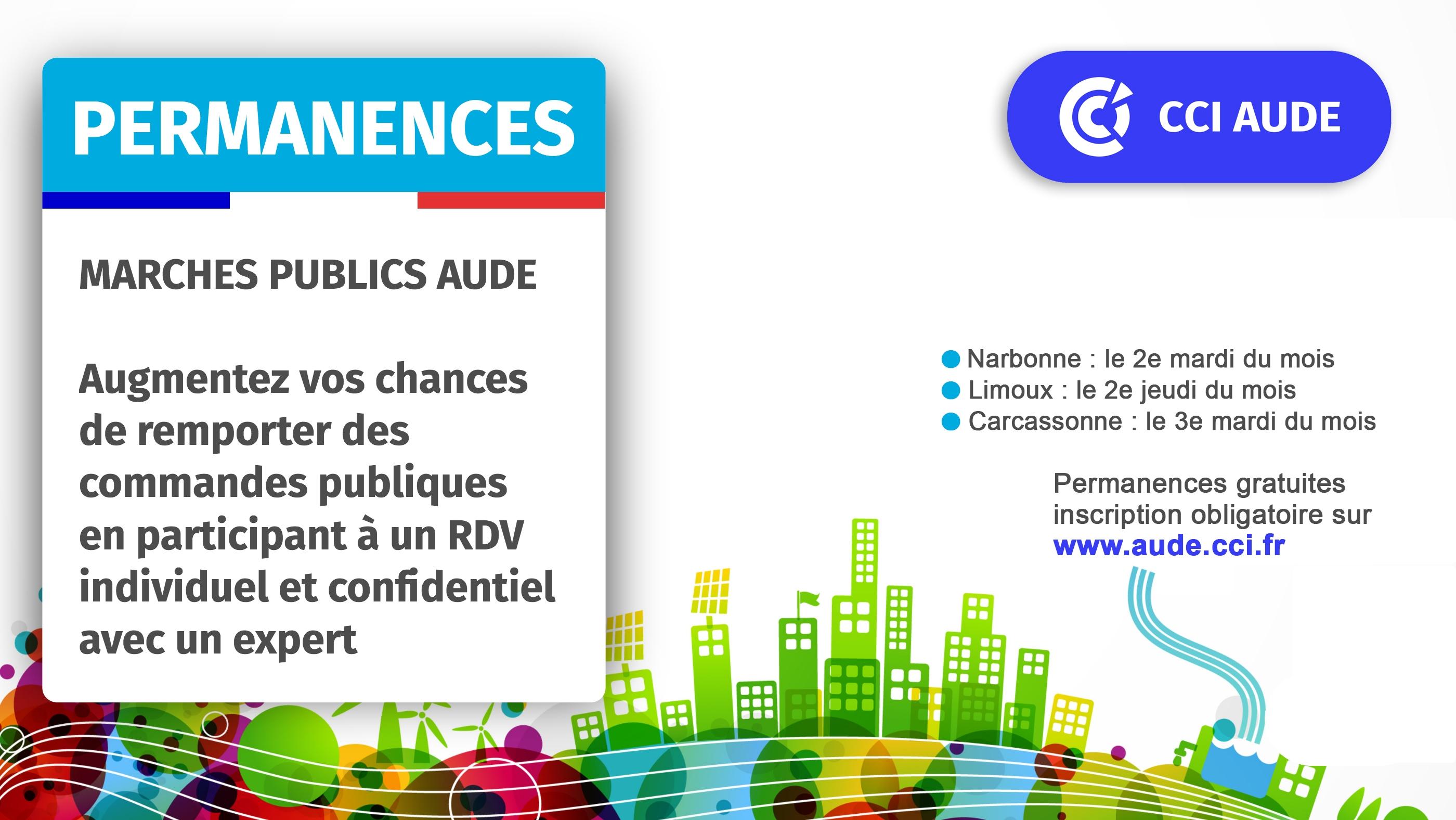 2020 visuel permanences Marchés Publics Aude 3 lieux